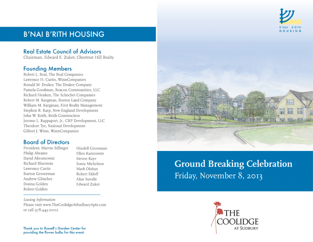The Coolidge at Sudbury B'nai B'rith Ground Breaking Celebration
