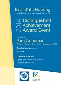 Image of Program for Pam Goodman, recipient of 2014 Distinguished Achievement Award.
