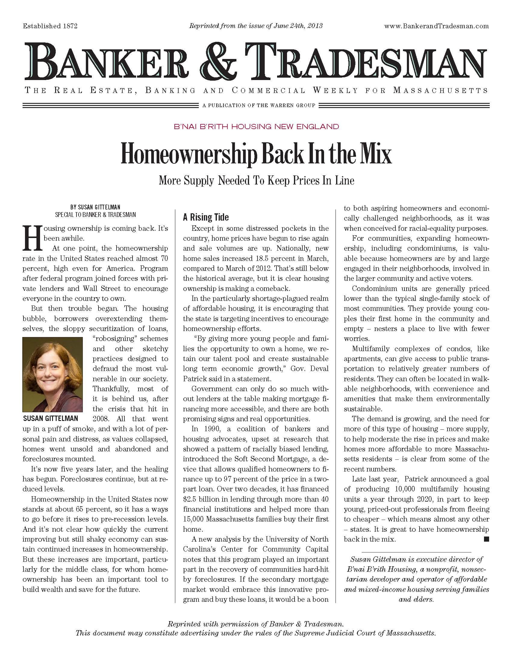 Image of Banker & Tradesman column by B'nai B'rith Housing Executive Director Susan Gittleman: Homeownership Back In the Mix