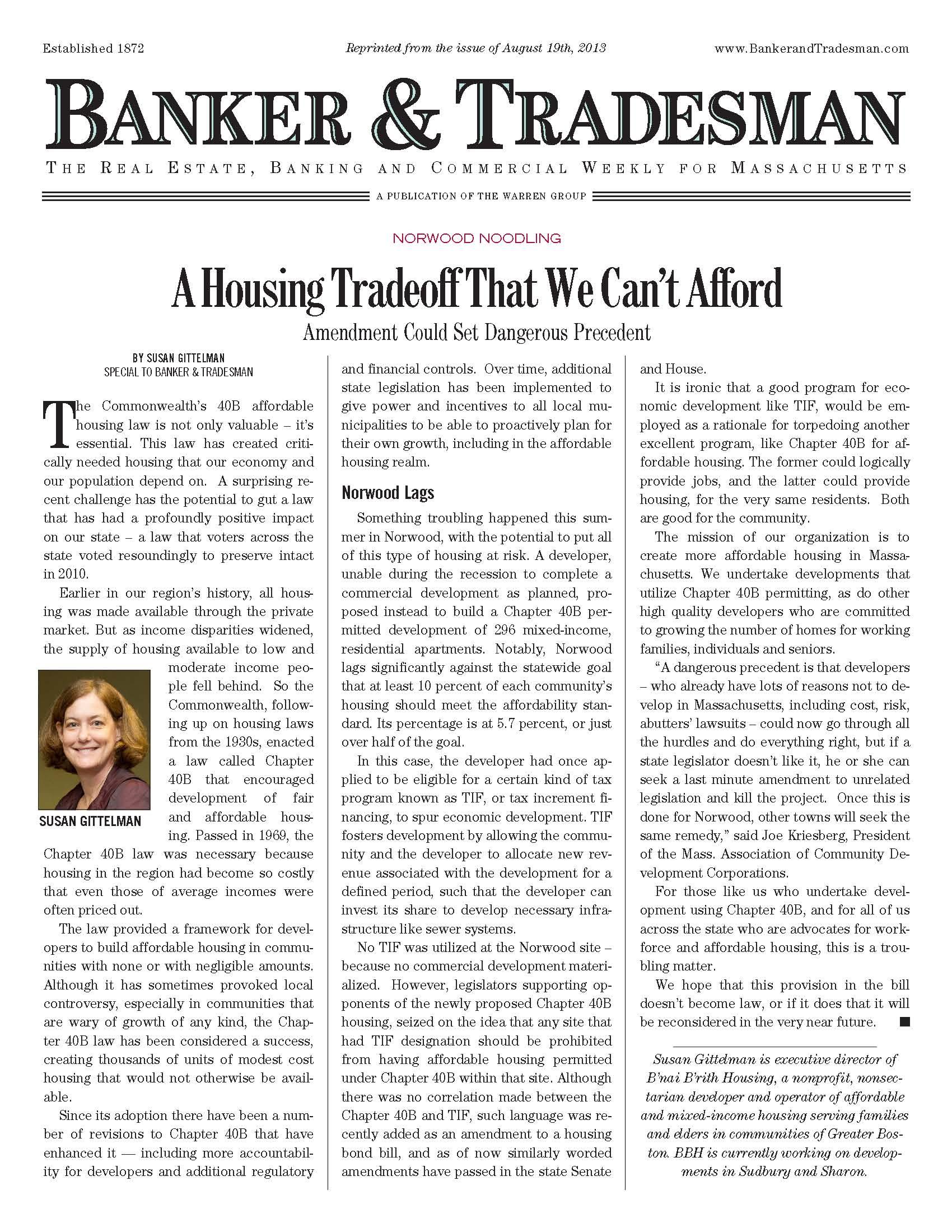 Image of Banker & Tradesman column by B'nai B'rith Housing Executive Director Susan Gittleman: Housing Trade off That We Can't Afford