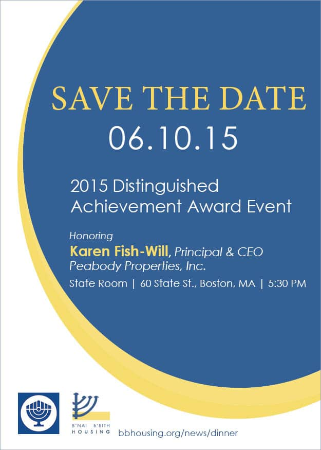 Graphic of Save the Date for 2015 Distinguished Achievement Award Event Honoring Karen Fish-Will.